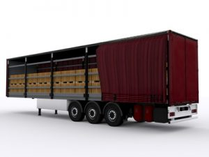 curtain-sided transport trailer